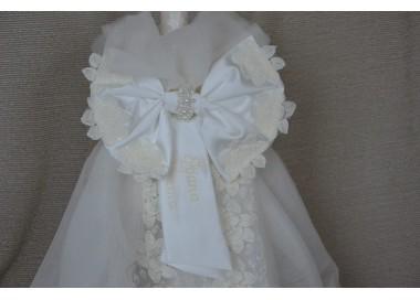 Lumanari botez fetita personalizata din tiul, dantela si perle, cvt47