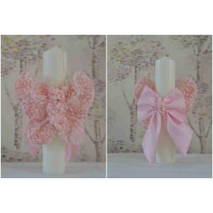 Lumanari botez fetita, aripi de fluturas din trandafiri roz pe tull-dimensiune 35cm, cvt76