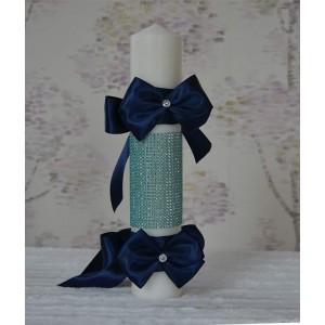 Lumanari botez pentru baiat cu panglici bleumarin 35cm, cvt84