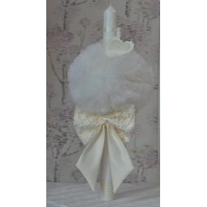 Lumanari botez fetita din tafta, dantela si tull alb-ivoire, cvt85