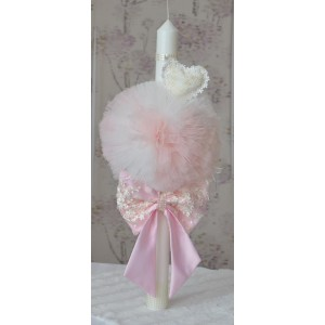 Lumanari botez fetita cu dantela roz cu mesaj din partea nasilor, cvt80