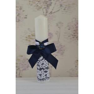 Lumanari botez baiat dimensiune 35cm decorata cu dantela si brosa bleumarin, cvt69