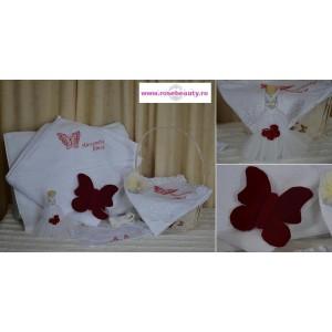 Trusou botez biserica fetita cu Fluturas si accesorii din catifea rosie si tull, 7 piese, cvt03
