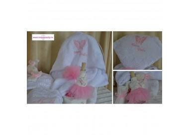 Trusou botez biserica fetita cu accesorii din tull roz si dantela, 8 piese, cvt02