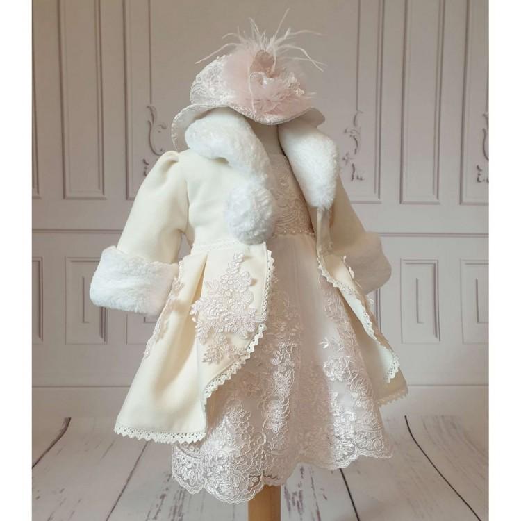 Set rochita palton de botez fetite 7piese, Antoinette
