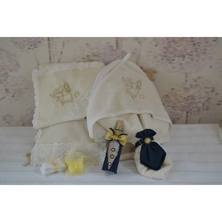 Trusou botez biserica teme clasice, in nuante de auriu si bleumarin, 7 piese, cvt64