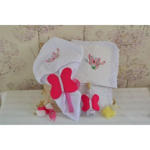 Trusou biserica fetita cu broderie, tema fluturi si flori roz cvt65