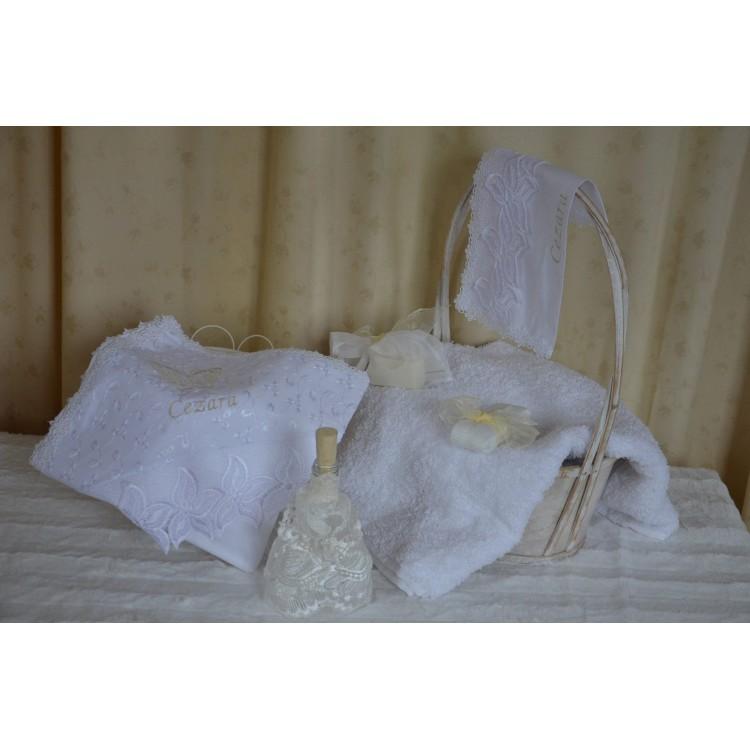 Trusou botez fetita biserica, dantela ivoire,7 piese , cvt11