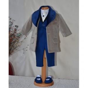 Costum cu palton botez toamna-iarna din catifea, 7 piese, HUGO