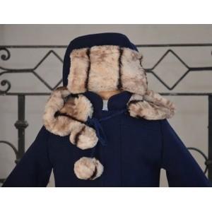 Set paltonas de botez baieti din stofa bleumarin si caciulita model rusesc Iarna, cvp07