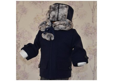 Set paltonas si caciulita de botez baieti din stofa bleumarin pentru Toamna-Iarna, cvp08