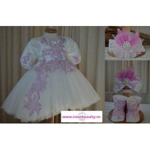 Rochita de botez roz fetita Cristal- set elegant cu turban, 4 piese
