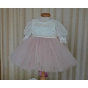 Rochite botez vara roz de fetite EVA - set elegant cu dantela si tull roz prafuit, 3 piese