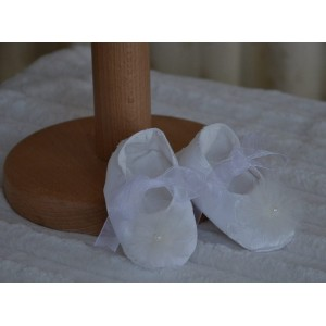 Rochite botez albe de vara fetite Mara- set matase alba cu perle, 3 piese