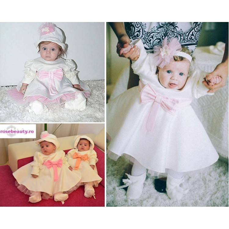 Rochite botez fetite Corina- set fundita roz, 4 piese
